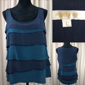 Matty M 100% silk tiered tank top. Teal and navy